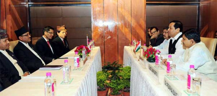 The MoS for Youth Affairs and Sports (IC), Sarbananda Sonowal and the Minister of Youth and Sports, Nepal, Purushottam Paudel