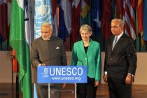 The Prime Minister, Narendra Modi launching a website on Yoga, at UNESCO, in Paris on April 10, 2015.