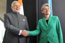 The Prime Minister, Narendra Modi with the Director-General of UNESCO, Irina Bokova, at UNESCO, in Paris on April 10, 2015.