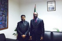 The MoS for Petroleum and Natural Gas (IC), Dharmendra Pradhan meeting the PM of Mozambique, Agostino Rosario