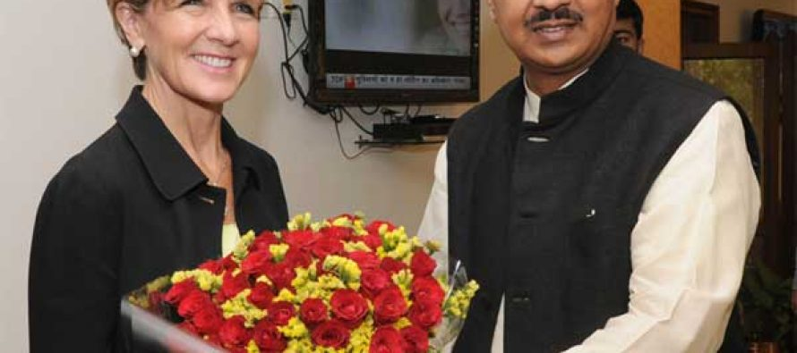 The Minister of Foreign Affairs, Australia, Julie Bishop meeting the MoS for Culture (IC), Tourism (IC) and Civil Aviation, Dr. Mahesh Sharma
