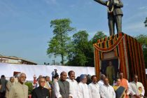 President, Pranab Mukherjee, paying floral tributes at the statue of Babasaheb Dr. BR Ambedkar on the occasion of his birth anniversary