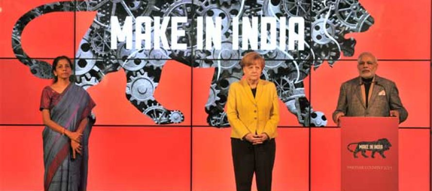 The PM, Narendra Modi addressing at the Joint Inauguration of the India Pavilion at the Hannover Messe, in Germany on April 13, 2015.