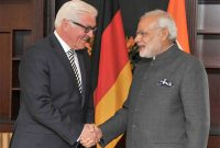 The Federal Foreign Minister of Germany, Frank-Walter Steinmeier meeting the Prime Minister, Narendra Modi, at Berlin