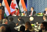 The Prime Minister, Narendra Modi addressing at the official dinner hosted by the Prime Minister of Canada, Stephen Harper,