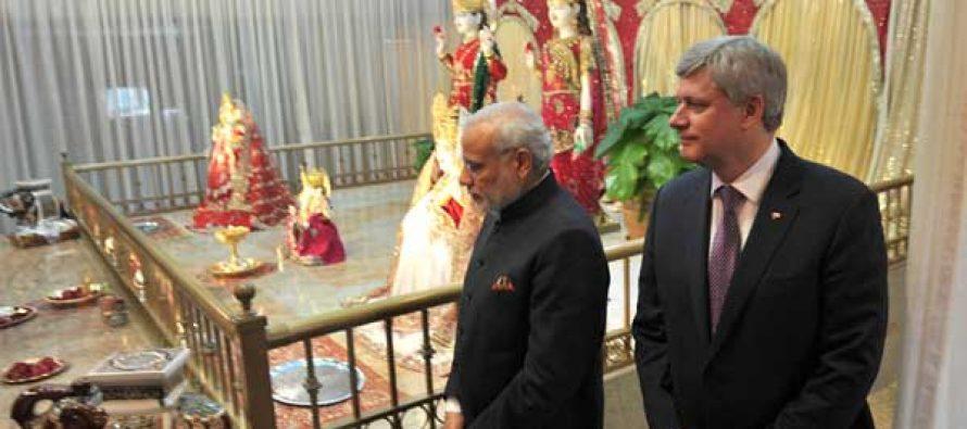 The Prime Minister, Narendra Modi and the Prime Minister of Canada, Stephen Harper visiting the Laxmi Narayan Temple