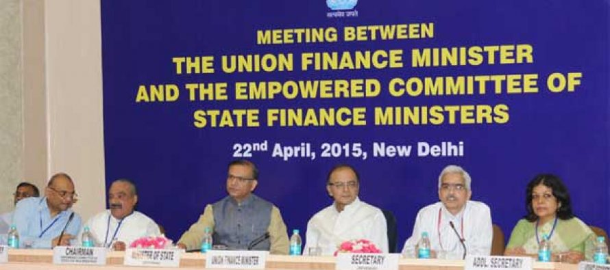 The Minister for Finance, Corporate Affairs and I&B, Arun Jaitley chairing the meeting of the State Finance Ministers