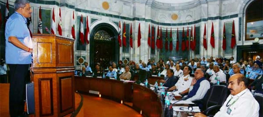 The Minister for Defence, Manohar Parrikar addressing the Unified Commanders' Conference – 2015, in New Delhi on April 23, 2015.
