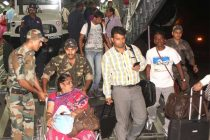 Indians evacuated from Earthquake hit Nepal deboarding the C-17 Globemaster- III of the Indian Air Force, in New Delhi on April 26, 2015.