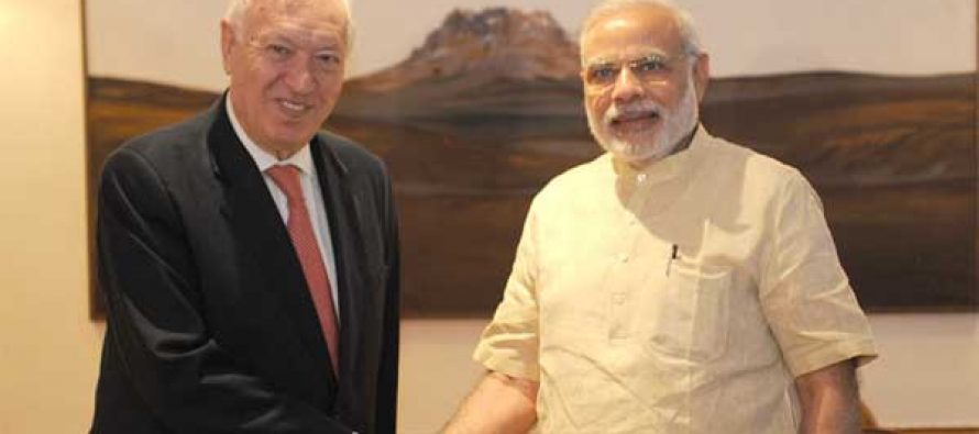 The Minister of Foreign Affairs and Cooperation of the Kingdom of Spain, Jose Manuel Garcia-Margallo y Marfil calling on the PM, Narendra Modi,