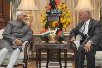 The Vice President, Mohd. Hamid Ansari calling on the President of the Islamic Republic of Afghanistan, Dr. Mohammad Ashraf Ghani