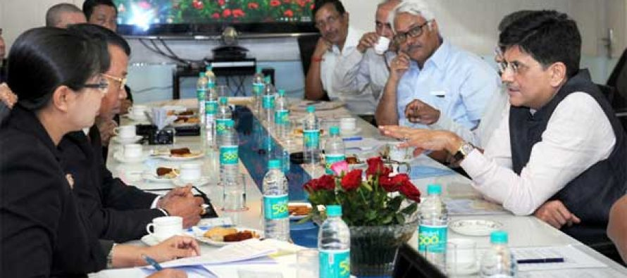 The Minister of Electric Power, Myanmar, U. Khin Maung Soe meeting the MOS (IC) for Power, Coal and New and Renewable Energy, Piyush Goyal