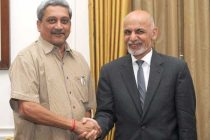 The Minister for Defence, Manohar Parrikar calling on the President of the Islamic Republic of Afghanistan, Dr. Mohammad Ashraf Ghani,