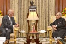 The President of the Islamic Republic of Afghanistan, Dr. Mohammad Ashraf Ghani calling on the President, Pranab Mukherjee,