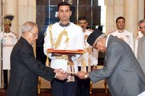 The Ambassador-designate of Nepal, Deep Kumar Upadhyay presenting his credential to the President, Pranab Mukherjee