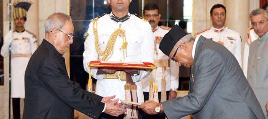 The Ambassador-designate of Nepal, Deep Kumar Upadhyay presenting his credential to the President, Pranab Mukherjee