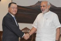 The Minister for Economy, Trade and Industry, Japan, Yoichi Miyazawa calls on the PM, Narendra Modi, in New Delhi on April 29, 2015.