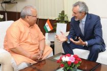 The Ambassador of Italy to India, Enzo Angeloni calling on the Union Minister for Micro, Small and Medium Enterprises, Kalraj Mishra