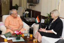 The Ambassador of Slovenia to India, Darga Bavdaz-Kuret calling on the Minister for Micro, Small and Medium Enterprises, Kalraj Mishra