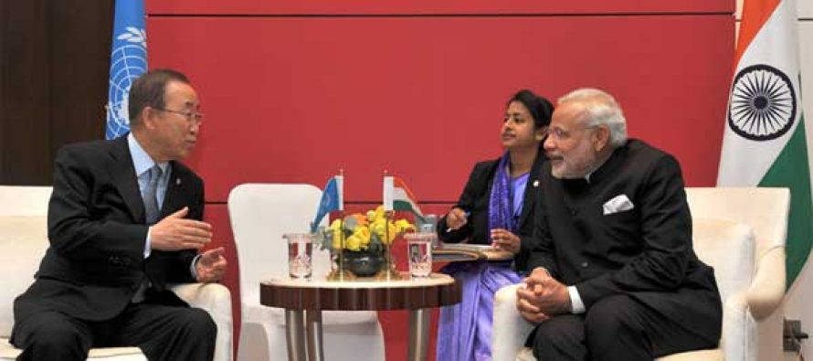 The Prime Minister, Narendra Modi meeting the UN Secretary General, Ban Ki-moon, in Seoul, South Korea on May 18, 2015.