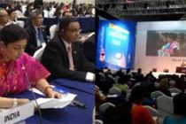 The Minister for Human Resource Development, Smriti Irani addressing the World Education Forum, organised by the UNESCO