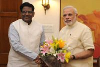 The Governor of Meghalaya, V. Shanmuganathan calls on the Prime Minister, Narendra Modi, in New Delhi on May 27, 2015.