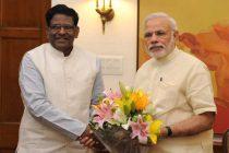 The Governor of Meghalaya, V. Shanmuganathan calls on the Prime Minister, Narendra Modi, in New Delhi on May 27, 2015.
