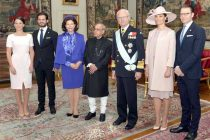 The President, Pranab Mukherjee with the King, Carl XVI Gustaf, Queen, Princess Victoria, His Royal Highness Prince Carl Philip