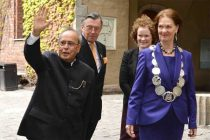 The President, Pranab Mukherjee with the Mayor of Stockholm, Karin Wanngard and the President of the Stockholm City Council