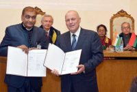 The President, Pranab Mukherjee witnessing the signing ceremony of MoUs, at the Belarus State University, in Minsk, Belarus