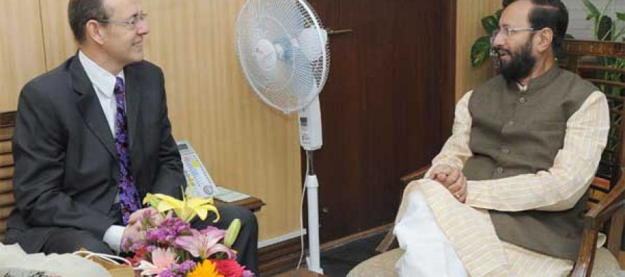 The British High Commissioner to India, James Bevan calls on the MoS for Environment, Forest and Climate Change (IC), Prakash