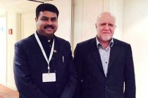 The MoS for Petroleum and Natural Gas (IC), Dharmendra Pradhan meeting the Minister of Oil and Gas of Iran, Bijan Namdar Zanganeh