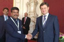 The MoS for Petroleum and Natural Gas (IC), Dharmendra Pradhan meeting the Russian Energy Minister, Alexander Novak,