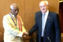 The MoS for Labour and Employment (IC), Bandaru Dattatreya at the BRICS meeting, in Geneva on June 10, 2015.