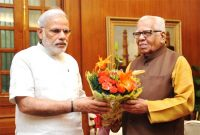 The Governor of Uttar Pradesh, Ram Naik calling on the Prime Minister, Narendra Modi, in New Delhi on June 12, 2015.