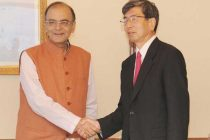 The President ADB, Takehiko Nakao meeting the Minister for Finance, Corporate Affairs and Information & Broadcasting