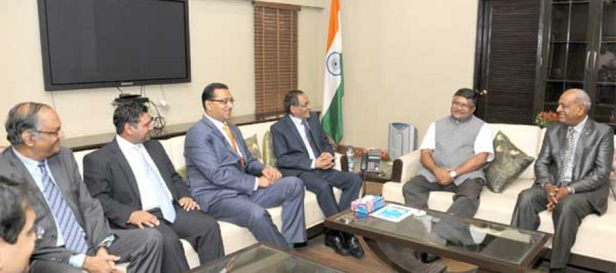 The Minister for Communications & IT, Ravi Shankar Prasad meeting the Minister of Finance and Economic Development of the Republic of