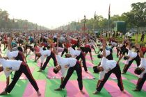 Participants of the 21st June International Yoga Day rehearsing at Rajpath, during dress rehearsal, in New Delhi on June 19, 2015.