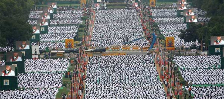 Two Guinness records set on first yoga day
