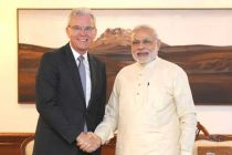 The CEO, Airbus Defence and Space, Bernhard Gerwert calling on the Prime Minister, Narendra Modi, in New Delhi on June 30, 2015.