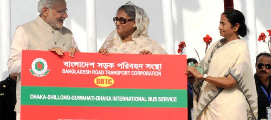 Bus services between India, Bangladesh flagged off  via Dhaka to Tripura, Bengal