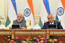 The Prime Minister, Narendra Modi giving his statement to the media during Joint Press briefing with the President of Uzbekistan, Islam Karimov