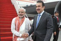 The Prime Minister, Narendra Modi being received by the Prime Minister of the Republic of Kazakhstan, Karim Massimov