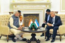 The Prime Minister, Narendra Modi in restricted meeting with the President of Uzbekistan, Islam Karimov, at Kuksaroy Complex