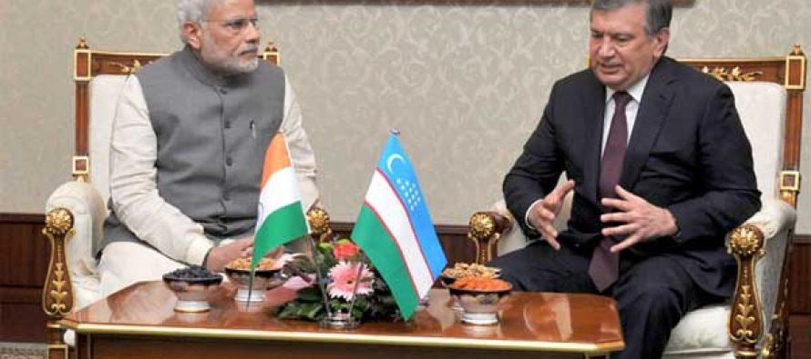 The Prime Minister, Narendra Modi meeting the Prime Minister of Uzbekistan, Shavkat Miromonovich Mirziyoyev