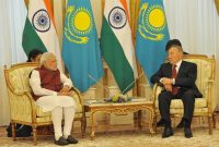 The Prime Minister, Narendra Modi in a restricted meeting with the President of the Republic of Kazakhstan, Nursultan Nazarbayev