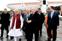 The Prime Minister, Narendra Modi arrives at Russian city of Ufa for BRICS/SCO summits, on July 08, 2015.