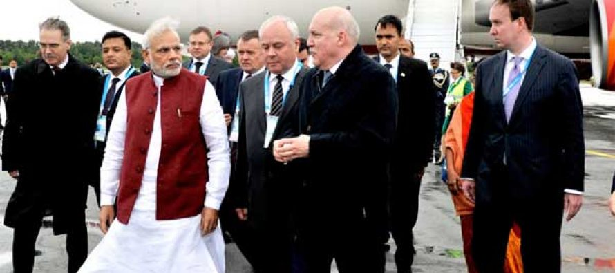 The Prime Minister, Narendra Modi arrives at Russian city of Ufa for BRICS/SCO summits, on July 08, 2015.