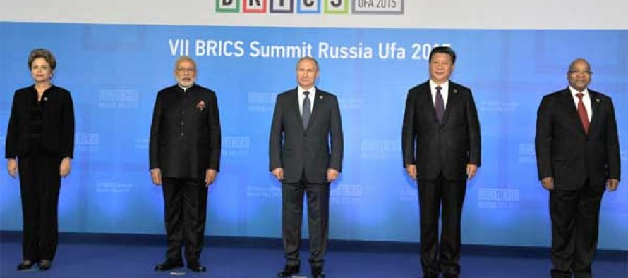 The Prime Minister, Narendra Modi with the President of the Russian Federation, Vladimir Putin, the President of Brazil, Dilma Rousseff,