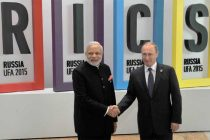 The Prime Minister, Narendra Modi being received by the President of Russian Federation, Vladimir Putin, for BRICS Summit,